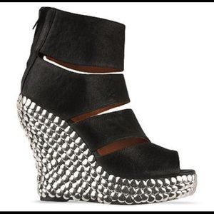 Jeffrey Campbell Tickle Tick Slashed Wedge Bootie